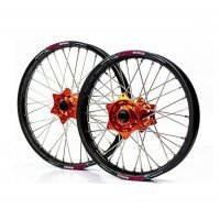 "Set roti enduro KTM/Husqvarna 21""x1.60 ax 22mm / 18""x2.15 ax 20mm orange hub"